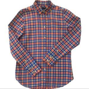 J. Crew Plaid Buttoned Down Shirt Orange Blue 0